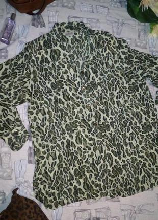 Шифоновая блуза в леопардовый принт хаки