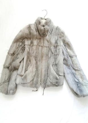 Серый норковый полушубок magic furs