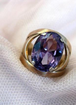 Кольцо серебро ссср, 875, звезда, александрит