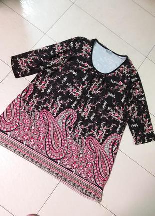 Яркая трикотажная туника/платье большого 22 размера