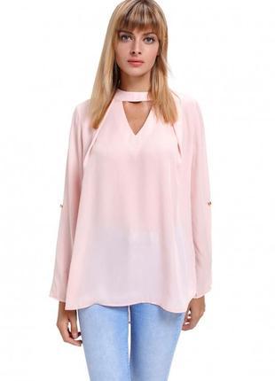 Батал пудровая блуза с чокером и рукавом воланом размер 18