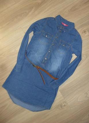 Джинсовое платье - рубашка на 8-9лет