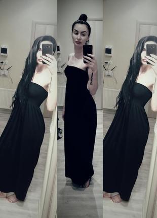 Сарафан в пол, платье в пол, длинный черный сарафан