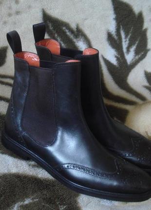 40 р. италия фирменные демисезонные кожаные ботинки/челси
