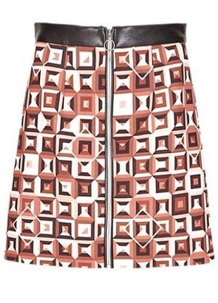 Юбка с кожаными вставками m&s limited edition турция геометрический принт этикетка