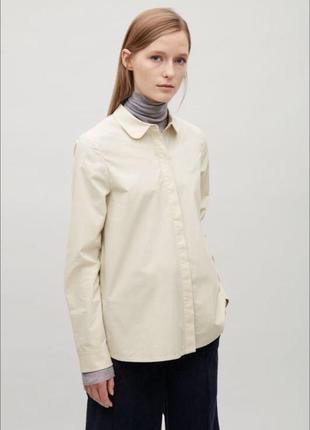 Классическая однотонная базовая рубашка cos с круглым воротником 💕