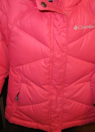 Зимний детский пуховик colimbia omni-heat для девочки, размер 4/5.