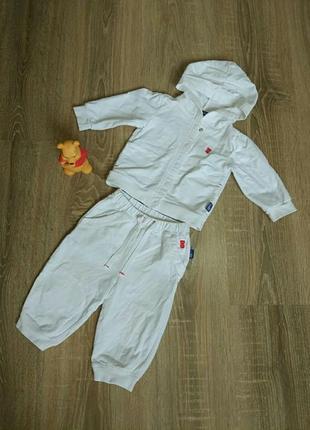 Белый спортивный костюм на мальчика/девочку, 3-6 мес.