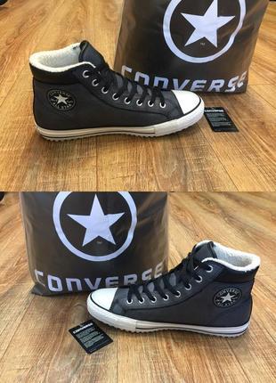 Кеды ботинки утепленные converse конверсы кожа р.44 (29см) в идеале
