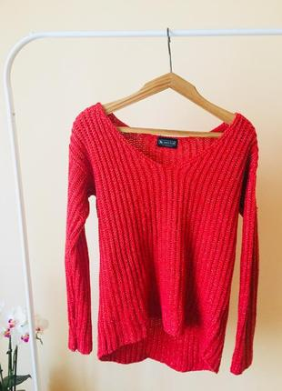Коралловый вязаный замечательный свитер кофта