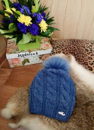Новая  женская вязаная шапка на флисе с бубоном , 11 цветов