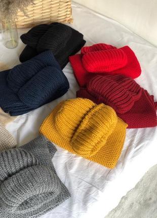 Тёплая объемная шапка