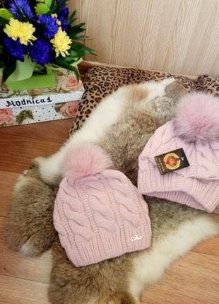 Женская вязаная шапка на флисе с бубоном , 11 цветов