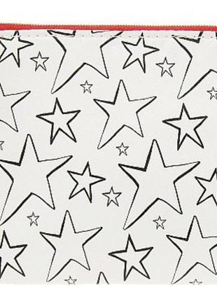 Косметичка clarins, белая со звездами