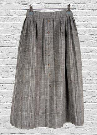 Плиссированная юбка миди, пышная юбка ниже колен