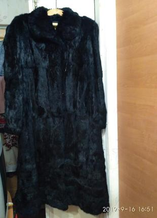 Красивая винтажная натуральная шуба, натуральный мех кролика , зима, теплая р. 12-14-16
