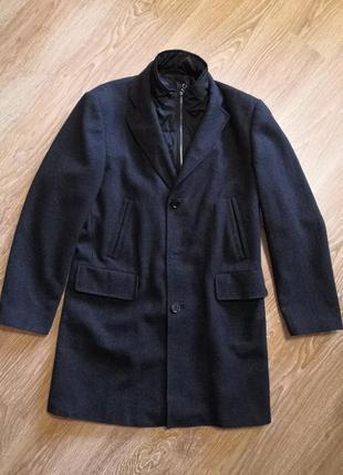 Шерстяное мужское пальто в мелкую клетку со съёмным воротником от ветра jake's