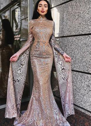 Вечернее золотое платье в пол