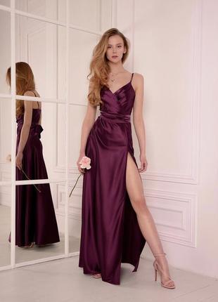 Вечернее платье, бордовое платье, платье в пол