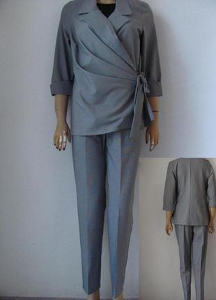 Классический женский костюм двойка в мелкую клеточку, пиджак с брюками код 1294м