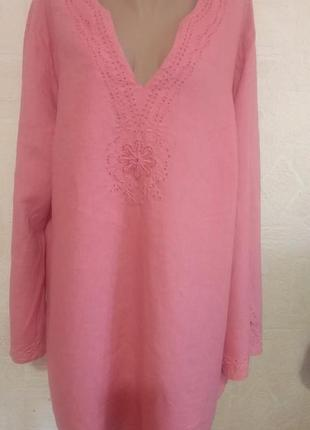 Блузка, рубашка ulla popken 54-56 р. льняная.