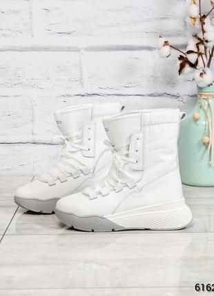 ❤ женские белые зимние кожаные высокие спортивные ботинки сапоги полусапожки на шерсти ❤