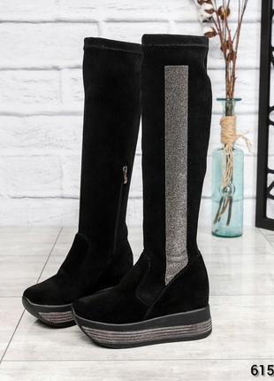 ❤ женские черные зимние замшевые  сапоги ботфорты ботильоны на шерсти ❤
