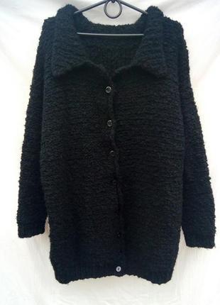 Вязаное пальто кардиган крупной вязки букле барашек hand made