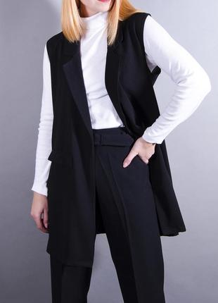Длинный жилет, пальто без рукавов, черное пальто, черный жилет, теплый кардиган