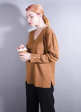 Свободный джемпер, коричневый джемпер оверсайз, теплый свитер