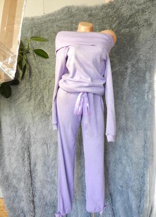✅ шикарный мягусенький вязаный костюм с открытыми плечами