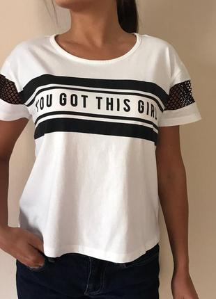 Футболка с сеткой new look/ р-р m/ футболка с надписями/белая женская футболка