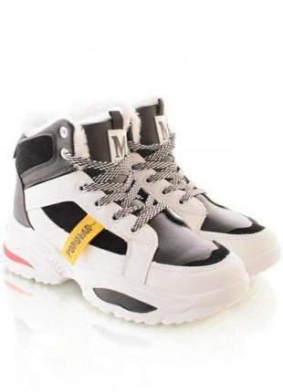 Стильные белые зимние высокие кроссовки спортивные ботинки хит платформа