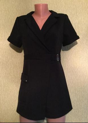 Комбинезон ромпер чёрный деловой шорты пояс талия пиджак рубашка классика классический