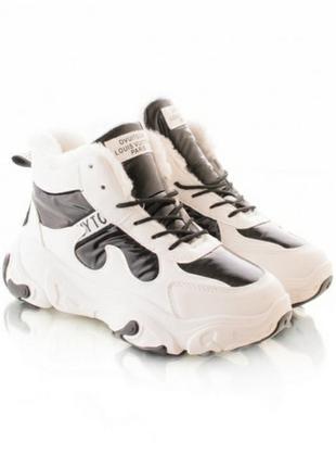 Стильные белые зимние высокие кроссовки спортивные ботинки хит кросы платформа