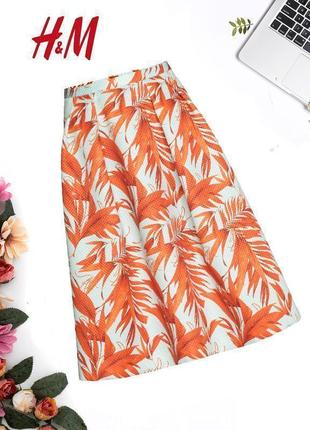 Объемная миди юбка в цветочный принт h&m