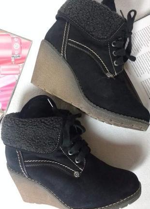 """Модные ботинки на танкетке """"tom tailor"""", 2 варианта носки"""