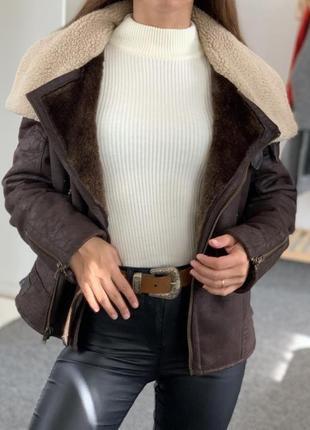 Дублёнка авиатор, искусственная дублёнка, коричневая дублёнка косуха, куртка