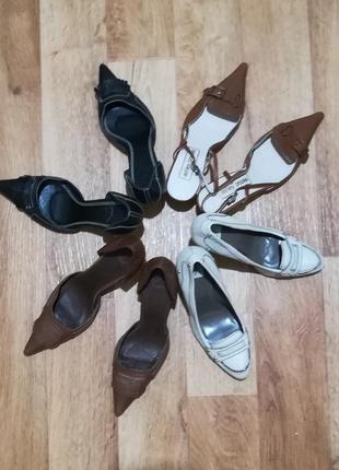 Акция! последняя пара! набор туфлей зара zara, острый носок, каблук «рюмочка»