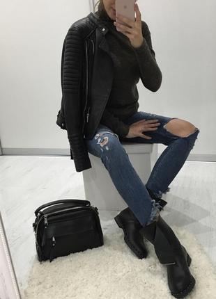 Шикарные кожаные сапоги / черные кожаные ботинки на низком ходу 36 размер