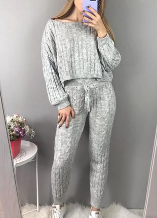 Обнова! шикарный вязанный костюм набор кофта свитер штаны джоггеры на резинке