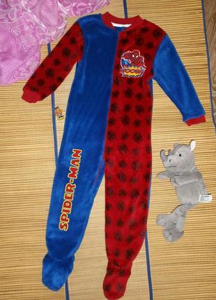 Пижама теплая слип для мальчика 4-5лет