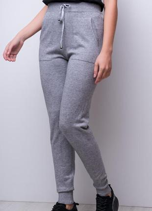 Удобные штаны с высокой посадкой / брюки в спортивном стиле / серый