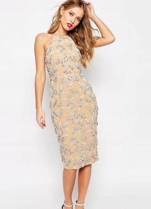 Надзвичайна розшита бісером сукня бежевого нюдового кольору