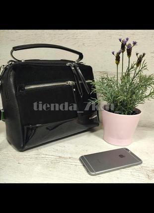 Женская сумка через плечо со вставкой из натуральной замши baliviya 68917 черная