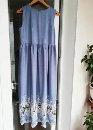 Платье макси длина голубое вискоза