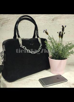 Женская сумка со вставкой из натуральной замши и с цепочкой baliviya 19710 черная