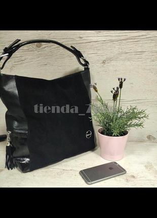 Женская сумка-мешок  со вставкой из натуральной замши baliviya 68917 черная