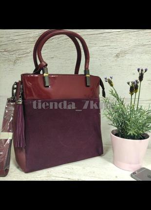 Женская сумка  со вставкой из натуральной замши baliviya 86357 бордовая