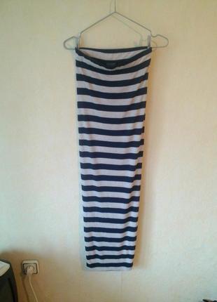 Стречевая макси юбочка в морском стиле top shop 6-8 uk